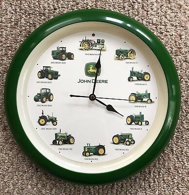 """13.5"""" John Deere Tractor Wall Clock with 12 Realistic Tractor Engine Sounds"""