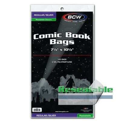 BCW Regular / Silver Comic Book Bags Resealable Protectors 2 Mil 100 Poly Holder