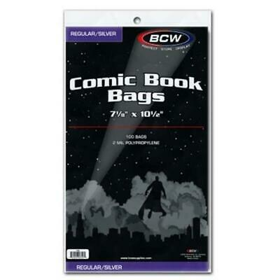 100 BCW Regular / Silver Age Comic Book Poly Bags 2 Mil Acid Free Holders