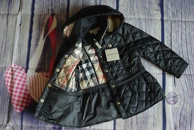 New!!! Burberry Baby Girls Designer Black Diamond Quilted Coat 2 Years