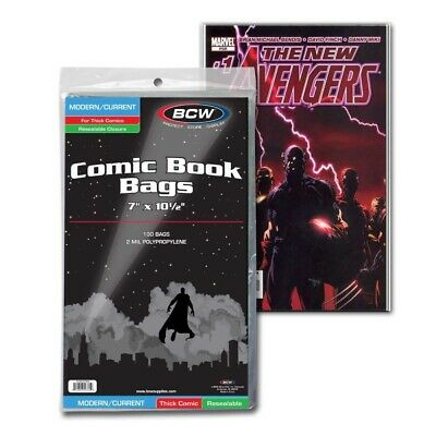 100 Current Modern Age Thick Comic Resealable Poly Bags Sleeves Protectors BCW