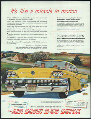 1958 Buick ad yellow B-58 4-door Super Riviera Miracle in Motion