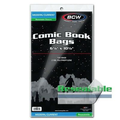 BCW Current Modern Comic Book Bags Resealable Protectors 2 Mil 100 Poly Holders