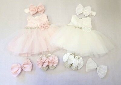 Visara Ivory Pink christening party dress, shoes, headband & bow pin 3-12 month