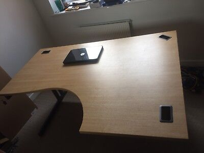 Large Corner Office Desk in Oak with Chest of Draws