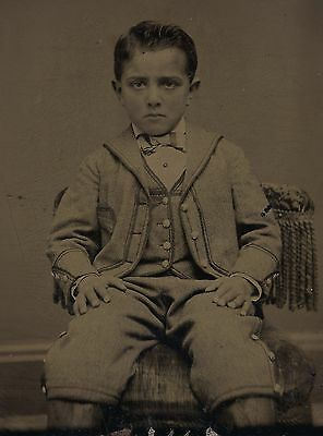 Vintage Antique Tintype Medical Oddity Young Boy Photo Amputated Prosthetic Legs