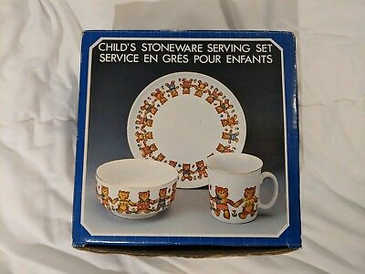 Vintage 1985 CHILDS STONEWARE SERVING SET Teddy Bears -Action Industries!