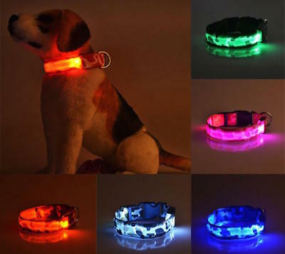 RECHARGEABLE CAMO LED PET DOG GLOW COLLAR night harness flash light camouflage