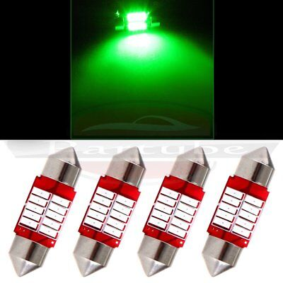 4x 31mm Green Festoon Dome Map Bulb Interior Car LED 4014 10SMD Lights Lamp New