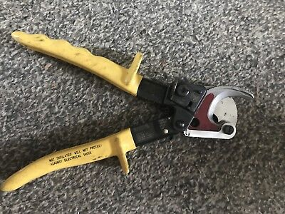 Used Klein Tools 63607 Small Ratcheting ACSR Cable Cutter - *no reserve*