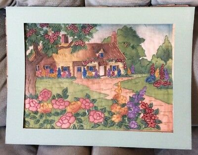 "Antique Hand Embroidered Picture Of a House and Flowers 16""x12"""