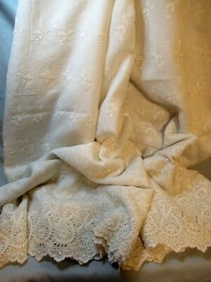 """Antique Embroidered cotton Broderie Anglaise 3 yd skirt panel 40"""" long"""