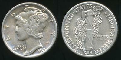 United States, 1935 Dime, Mercury (Silver) - Uncirculated