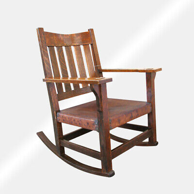 Antique Gustav Stickley V Back Arm Rocking Chair  inv13