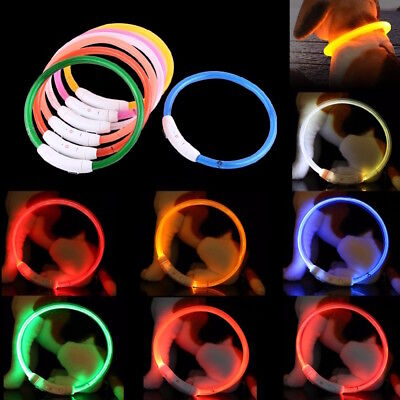 RECHARGEABLE TUBE LED PET GLOW COLLAR safety adjustable flash light-up FOR dog