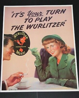 Wurlitzer Jukebox Collectible 1940's Posters set of 4 designs, Licensed Reissues