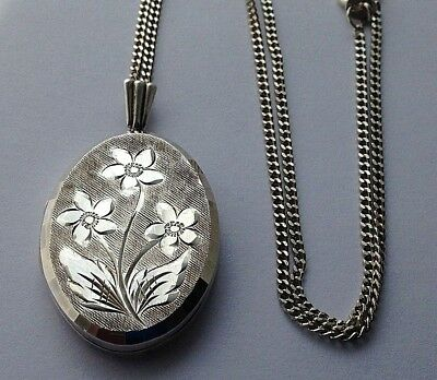 Lovely Vintage Sterling Silver Georg Jensen Oval Flower Locket Necklace