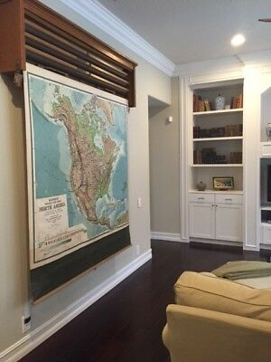 Four Vintage Pull Down Large School Classroom Wall Maps With Oak Case