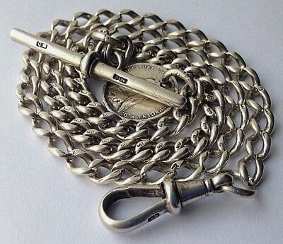 Antique 1881 Solid Sterling Silver Albert Pocket Watch T-Bar Chain with Coin