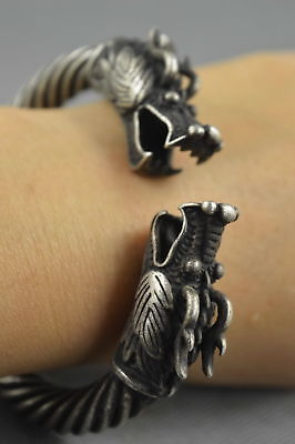 Collectable Handwork Decor Miao Silver Carve Dragon Exorcism Evil Lucky Bracelet