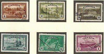 Canada #268-73 Peace Issue 1946 Complete Set Used.
