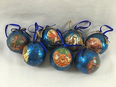 Vintage Heirloom Paper Mache Christmas Ornaments | Decoupage Blue Foil | Ribbon