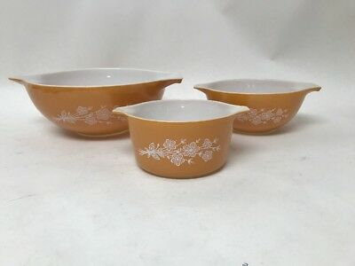 SET OF 3 Vintage PYREX CINDERELLA Butterfly Gold & White Flowers MIXING BOWLS