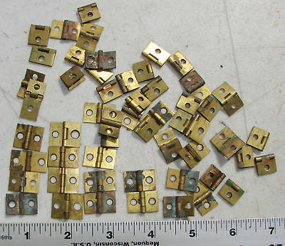Tiny Small Solid Brass Hinges Large Lot Antique Hardware Used Salvage Vintage