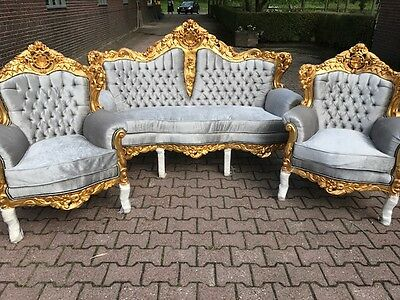 Antique Baroque Set Italian Style: Sofa Couch  With Two Chairs (3 Pieces)