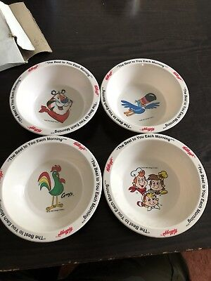 4 Kellogg's Promotional Cereal Bowls Tucan, Tiger, Snap Crackle Pop, Corny