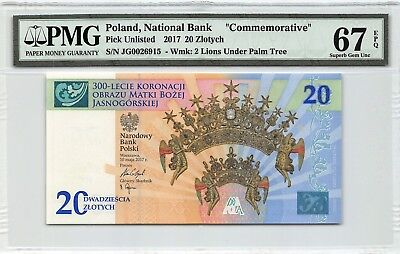 Poland 2017 PMG Superb Gem UNC 67 EPQ 20 Zlotych *Commemorative With Folder*