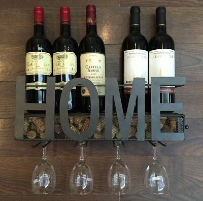Wall Mounted Metal Wine Rack 4 Long Stem Glass holder & Wine Cork Storage