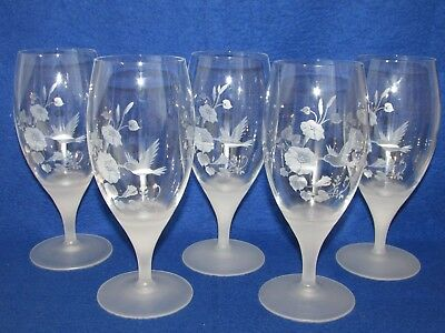 5 Avon Etched Hummingbird Lead Crystal Ice Tea / Water Goblets / Tumblers