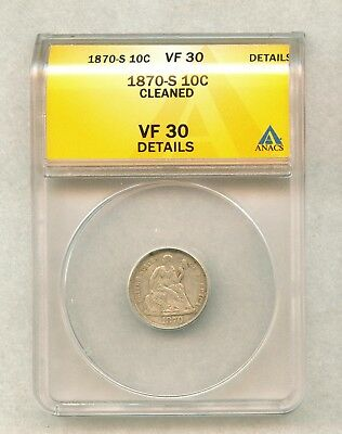 1870-S Seated Liberty Silver Dime Anacs Vf30 Details -Cleaned