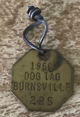 Vintage Hexagon Dog Tag License Brass 1966 Burnsville Minnesota
