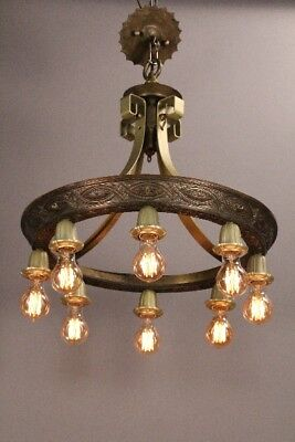 1 of 3 1920's Antique Spanish Revival Tudor Eight-Light Chandelier (11155)