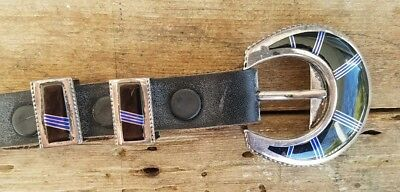 STERLING Silver 4 Piece Belt Buckle Set with Black and Blue Inlay, Black Leather