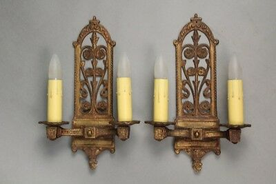 Classic Pair of Antique Spanish Revival English Tudor  Double Sconces (11075)