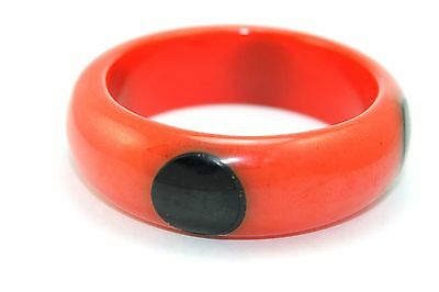 "THICK Vtg ART DECO Chunky BAKELITE Red & Black ""Ladybug"" 4 DOT Bangle Bracelet"