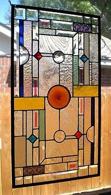 """Stained Glass Window Panel Hanging """"Brilliant"""" 15 1/2"""" x 28 1/2"""""""