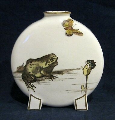 Antique Minton Moon Flask Vase with Ducklings Frog and Insects