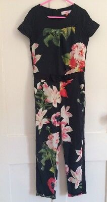 300709cf559a61 Ted Baker Girls Black Red Poppy Lily Floral Print Jumpsuit Playsuit Age 6-7  Yrs