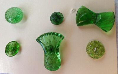 6 Antique Green Glass Buttons - All Different, Pineapple