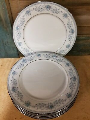 6 beautiful  Noritake Blue Hill bread or desert Plates 2482, Contemporary 6.25""
