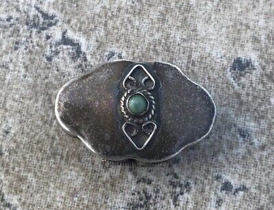 Vintage 925 Sterling Silver Turquoise Pill Snuff Trinket Box Mexico