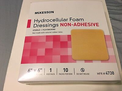 "McKesson Hydrocellular Foam Dressing Non-Adhesive 6"" x 6"" (Box of 10), # 4738"