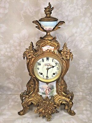 Antique New Haven Brass Mantel Clock Porcelain Front Pieces and Topper Runs?