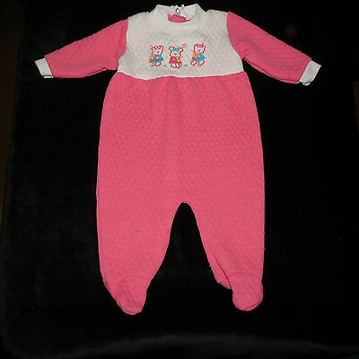 Sweet Vintage Royal Heir Baby Girl's Footed Sleeper Quilted Embroidered Medium