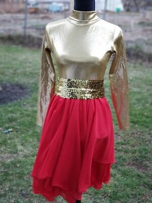 NEW DANCE Skirl Lyrical Praise Chiffon Skirt Red Ladies  Layering Worship Dance