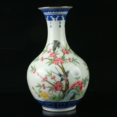 Chinese Porcelain Hand-Painted Flower Vase Mark As The Qianlong Period  R1008